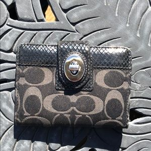 Coach Wallet with Snakeskin Details